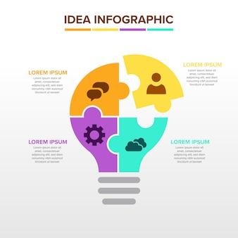 Infográfico de idéia com bulbo e quebra-cabeça