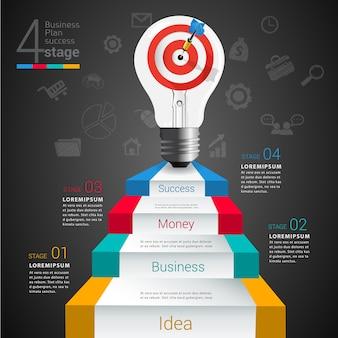Infográfico de idéia de lâmpada alvo