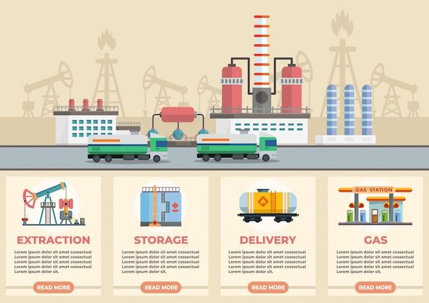 Infográfico de ilustração vetorial de estágios de óleo
