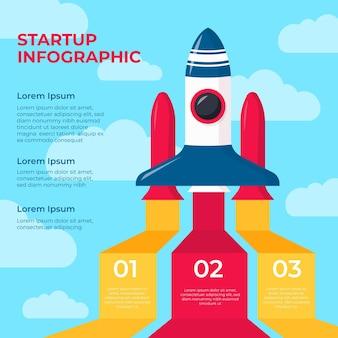 Infográfico de inicialização de design plano com foguete