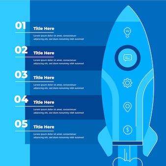 Infográfico de inicialização de design plano