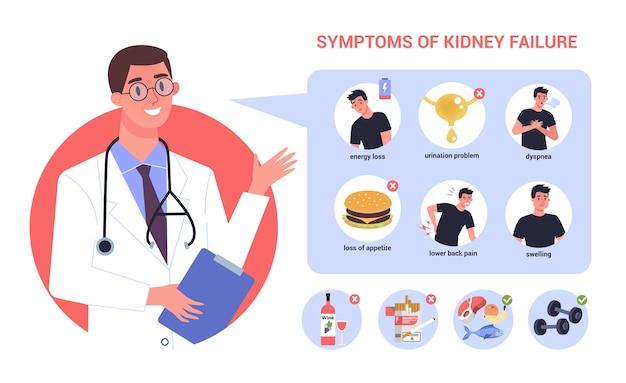 Infográfico de insuficiência renal. sintomas e prevenção. idéia de tratamento médico. urologia, órgão interno humano. corpo saudável.