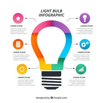 Infográfico de lâmpada colorida em estilo simples