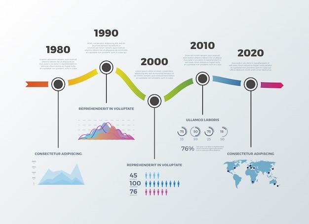 Infográfico de linha do tempo da estrada para opções de número de diagrama de banner de layout de fluxo de trabalho