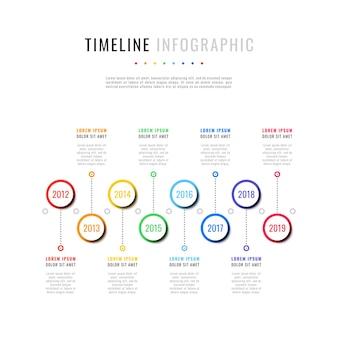 Infográfico de linha do tempo horizontal com oito elementos redondos