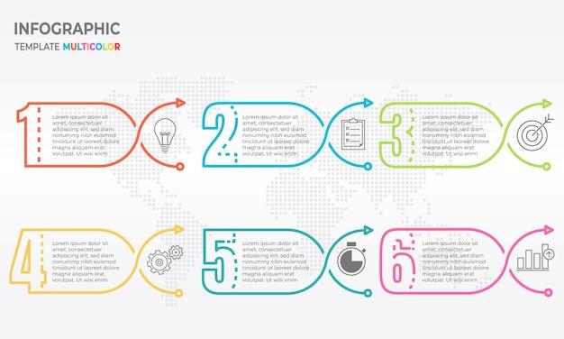 Infográfico de linha fina de elementos, números 6 opções.
