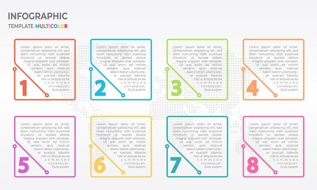 Infográfico de linha fina de elementos, números 8 opções.