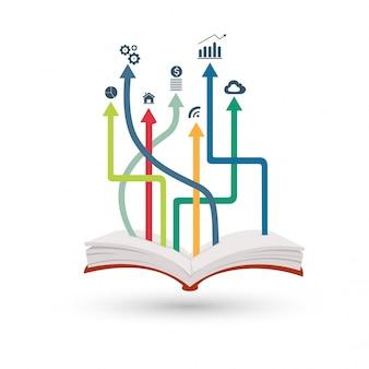 Infográfico de livro aberto