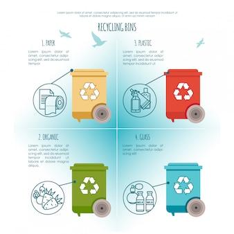 Infográfico de lixeiras. gestão de resíduos e conceito de reciclagem. ilustração