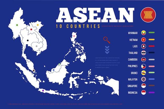 Infográfico de mapa da asean