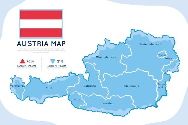 Infográfico de mapa da áustria desenhado à mão
