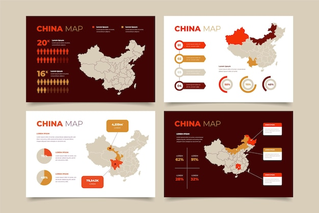 Infográfico de mapa da china em design plano