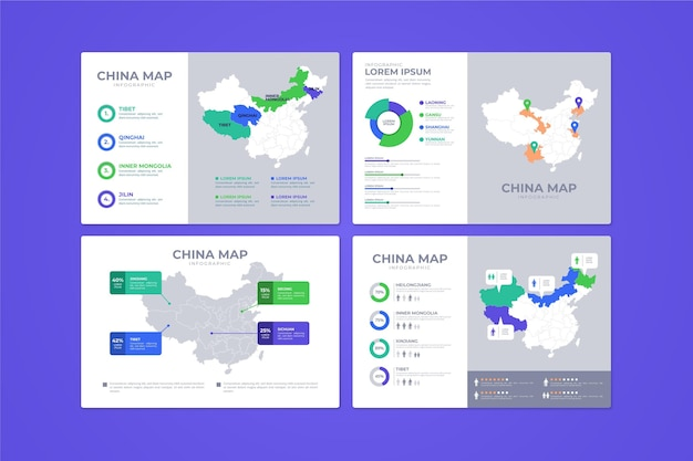 Infográfico de mapa da china plana