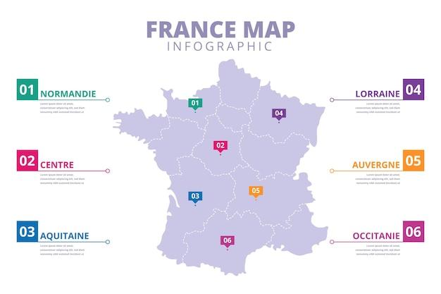 Infográfico de mapa da frança desenhado à mão
