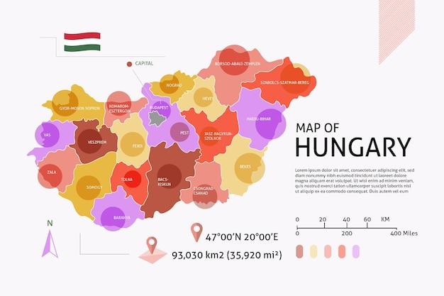 Infográfico de mapa da hungria plana