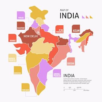Infográfico de mapa da índia plana