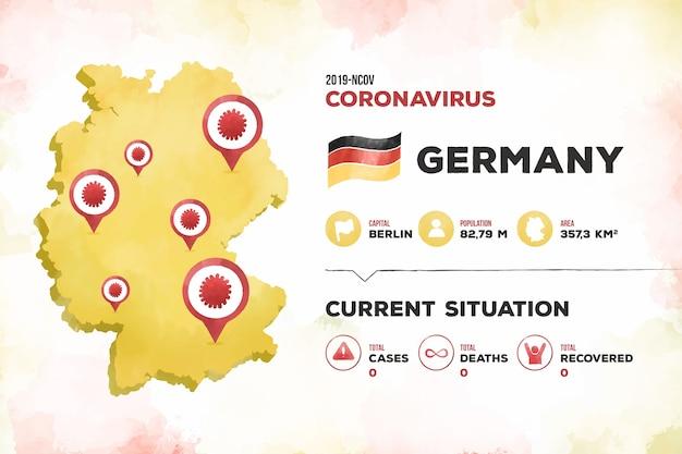 Infográfico de mapa de alemanha de coronavírus