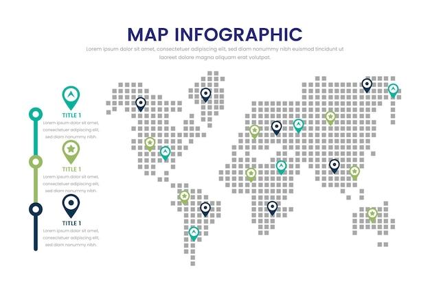 Infográfico de mapa de design plano