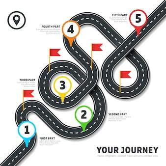 Infográfico de mapa de forma de estrada sinuosa de navegação. informações de negócios do roteiro, roteiro de plano para os negócios