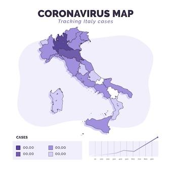 Infográfico de mapa de itália de coronavírus