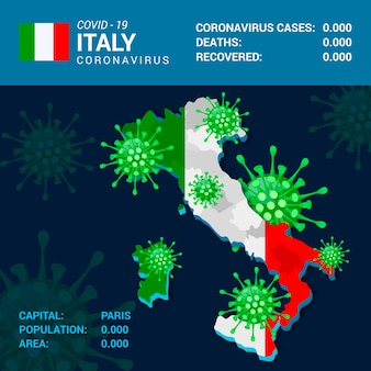 Infográfico de mapa de país de coronavírus para a itália