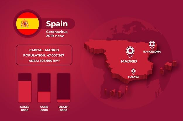 Infográfico de mapa de país de coronavírus
