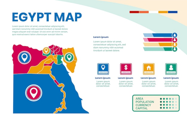 Infográfico de mapa do egito de design plano