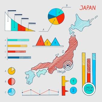 Infográfico de mapa do japão desenhado à mão