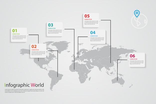 Infográfico de mapa do mundo, informações de mapa do mundo