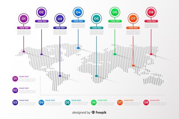 Infográfico de mapa do mundo profissional