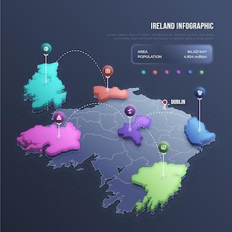 Infográfico de mapa isométrico da irlanda