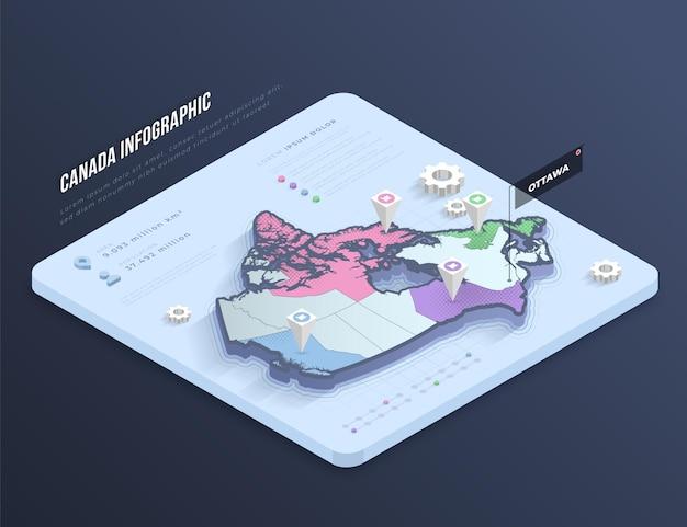 Infográfico de mapa isométrico do canadá