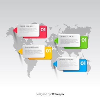 Infográfico de mapa mundo com caixas de texto