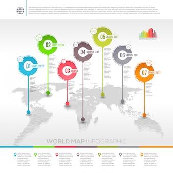 Infográfico de mapa mundo com ponteiros de mapa