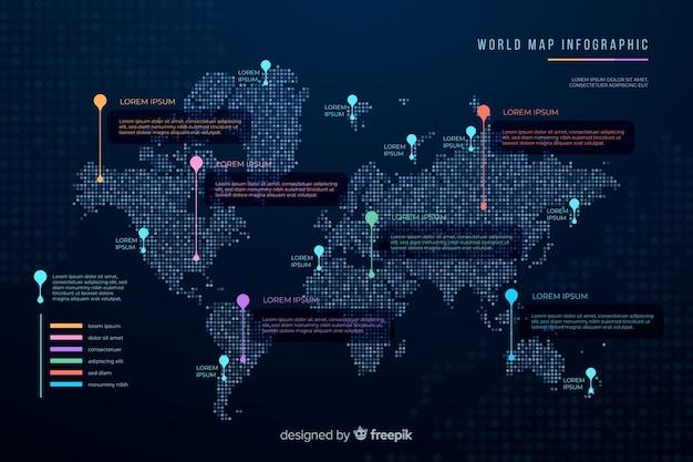Infográfico de mapa mundo escuro tema