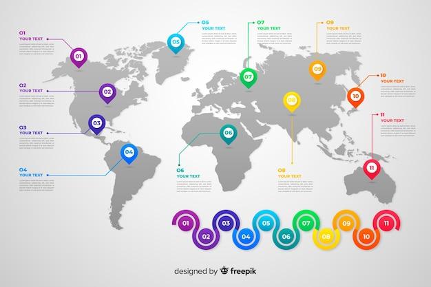 Infográfico de mapa mundo negócios