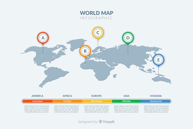 Infográfico de mapa mundo tema luz