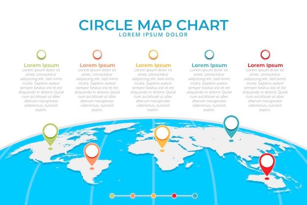 Infográfico de mapas de design plano com ícones de localização