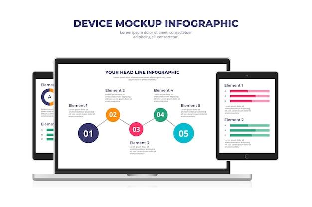 Infográfico de maquete de dispositivo plano