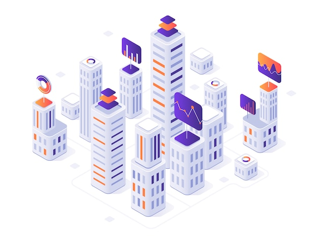 Infográfico de megalópole isométrica. edifícios da cidade, futurista urbana e cidade negócios escritório distrito métricas ilustração 3d