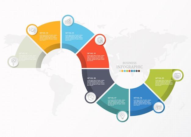 Infográfico de meio círculos para negócios