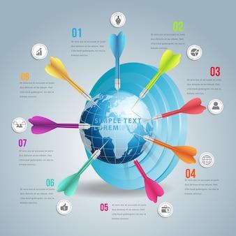 Infográfico de mercado alvo do mundo de negócios com dardo de cores.