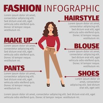 Infográfico de moda com garota na camisola