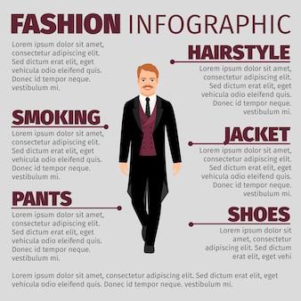 Infográfico de moda com homem em fumar