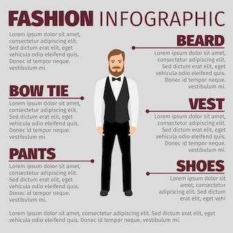Infográfico de moda com homem hipster barbudo