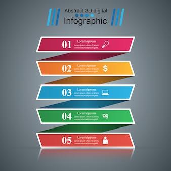 Infográfico de modelo de design 3d e ícones de marketing.