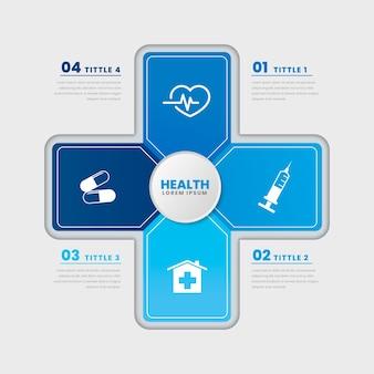 Infográfico de modelo de saúde médica de design plano