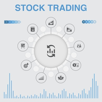 Infográfico de negociação de ações com ícones. contém ícones como mercado em alta, mercado em baixa, relatório anual, alvo