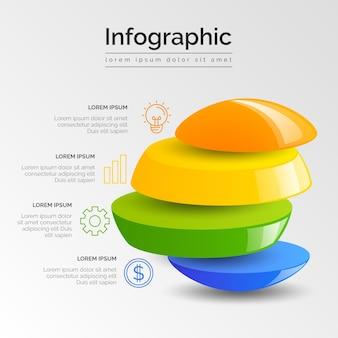 Infográfico de negócios 3d brilhante