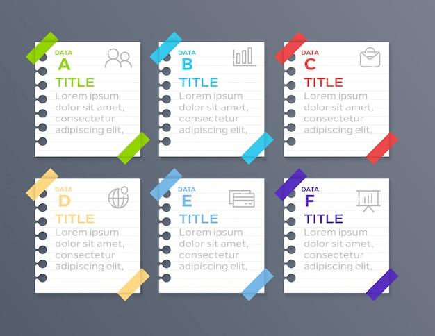 Infográfico de negócios 6 passo em papel
